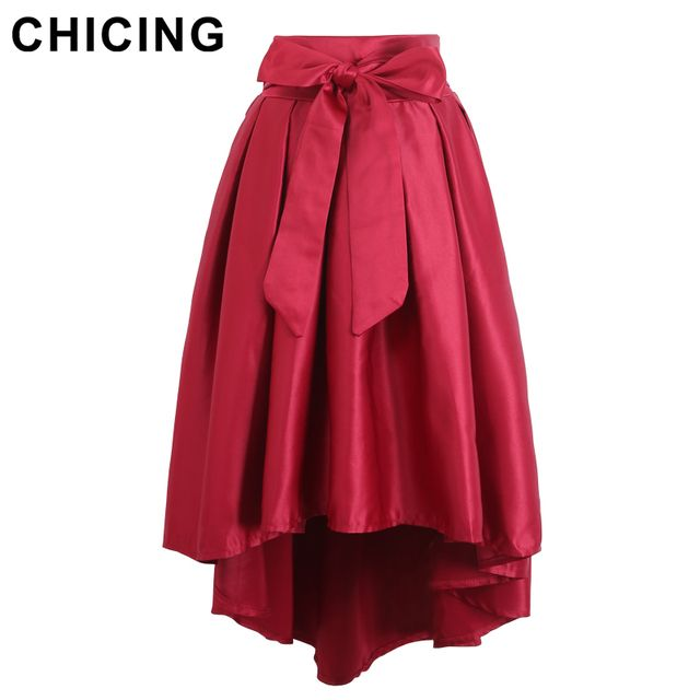 CHICING Red And Green Color 2016 Christmas Party Asymmetrical Hem Swallow-tailed Pleated Elegant Bow Women Satin Skirts A1410295
