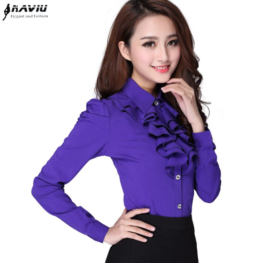 New Spring long-sleeve female shir slim solid color puff sleeve Ruffles work wear women blouses Casual  plus size chiffon tops