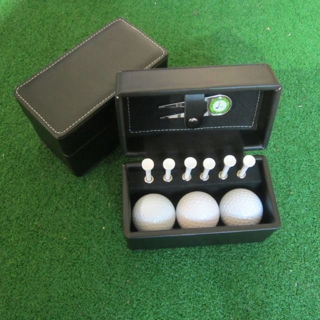 Classic leather Box golf ball and tees and golf divot tool golf gift set