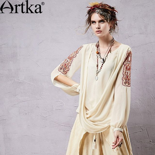 Artka Women's Retro Chiffon Blouses Ethnic Embroidery & Hollow Out Sleeve Design Fashion Woman Beige Shirts SA14350X
