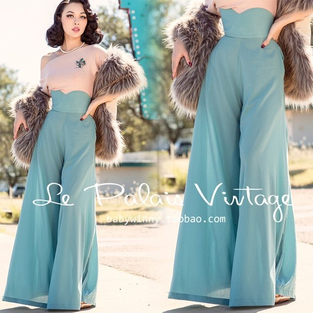 FREE SHIPPING Le Palais Vintage Limited Edition 2015 New Autumn Elegant Green Silk High Waist Long Pants Wide Leg Romper Women