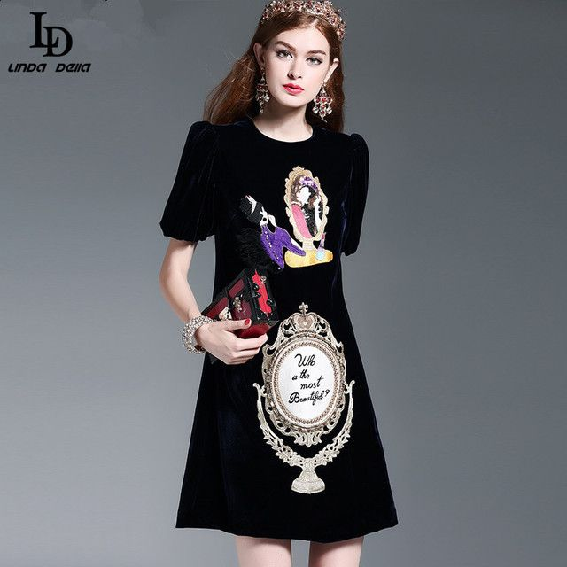New 2016 Fashion Runway Loose Straight Dress Winter Women's High Quality Embroidery Beading Crystal  Button Velvet Dress