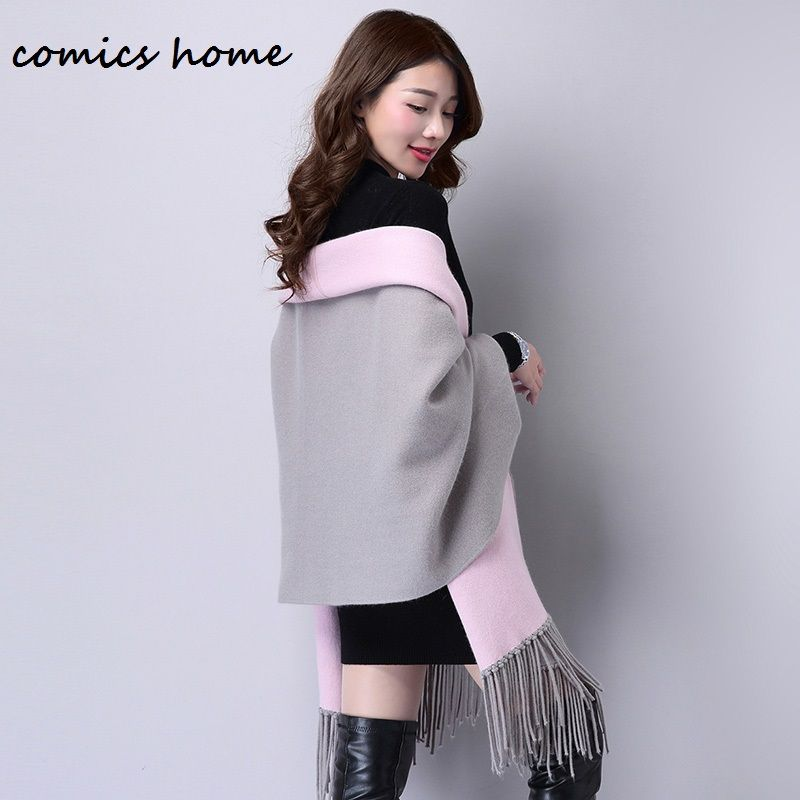 Autumn Shrugs for Women's Elegant Cardigan Socialite Cashmere Tassel Cardigan Sweaters Batwing Sleeves Scarf Cape Outwear