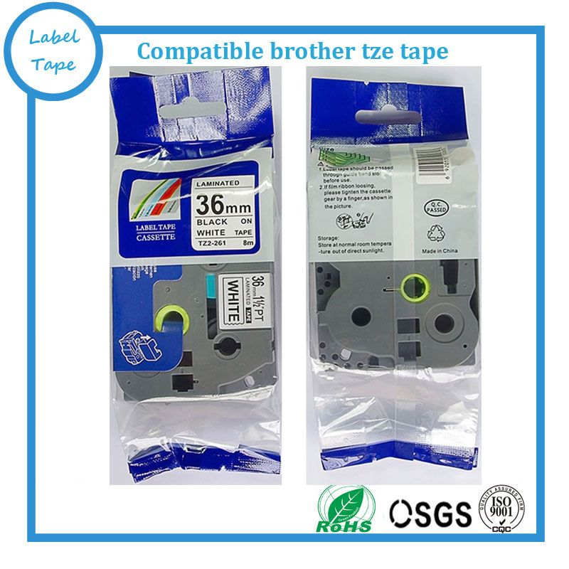 10 packs 36mm TZe-261 Black on White TZ-261 compatible label tapes for PT label printers