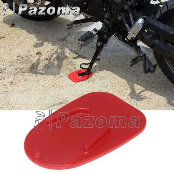 PAZOMA Hot Red Motorcycle Universal Dirtbike Foot Pad Base Kickstand Pad Side Stand Plate Protect For Ducati Free Shipping