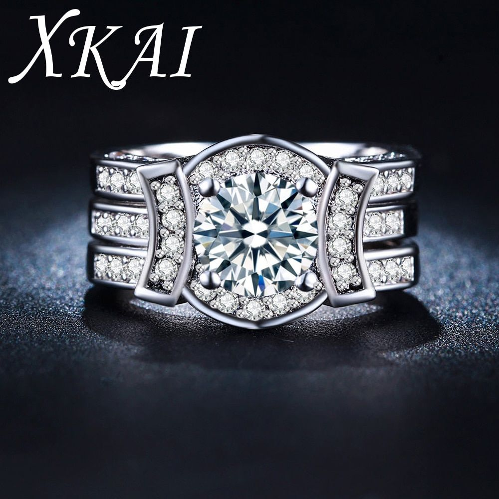 White silver color rings for women CZ stone jewelry women wedding rings gifts Engagement ring sets vintage bijoux bague XKR225