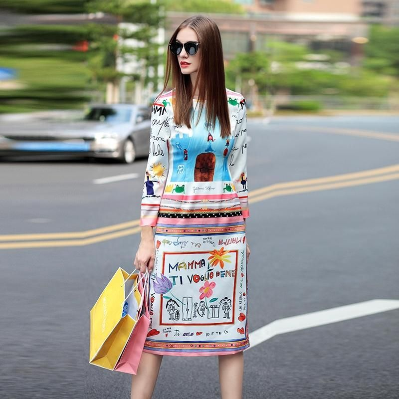 Designer Dress 2016 New Fashion Daily Street Novelty Letter Cartoon Print Knee-Length White Luxury Dress For Women