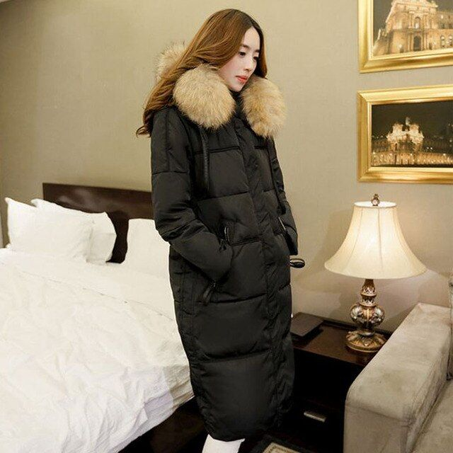 Parkas For Women Winter 2017 Long Coat Large Raccoon Fur Collar Thickening Duck Down Jacket Outerwear Female Snow Wear Brand