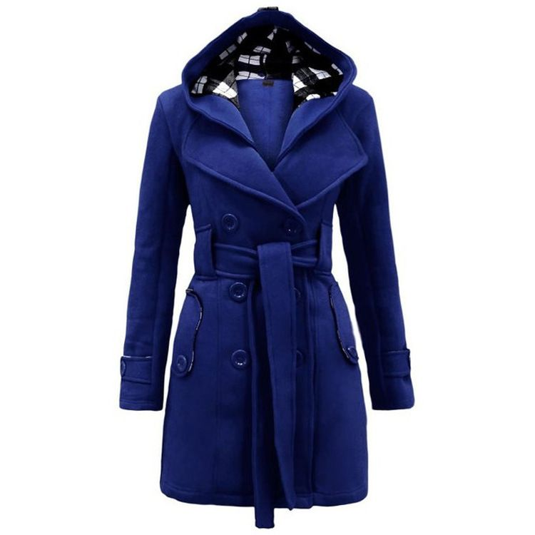 Winter Trench Coat 2017 Hot Womens Coat waist coat Windbreaker Women Female Hooded long section of double breasted wool coat