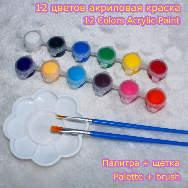 12 Colors Acrylic Paint Set For Oil Painting Nail Art Clothes Digital Wall Painting  With 2 Brushes And 1 Palette Children Gifts