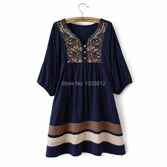2018 Hot Sale Women Summer Embroidered Ethnic style stitching loose half sleeve female Cotton Long Blouse Free Shipping