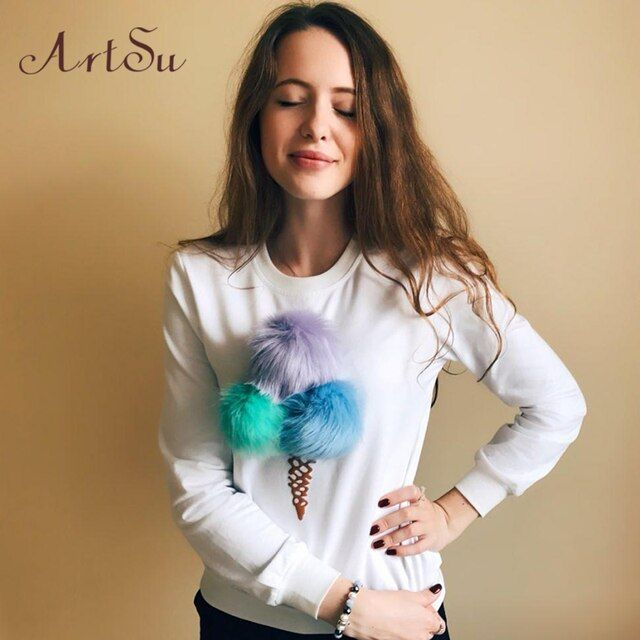 ArtSu Clothing Colorful Plush Ice Cream Women Hoodies Novelty long sleeved sweatshirts Casual Autumn Winter Pullovers ASHO50004