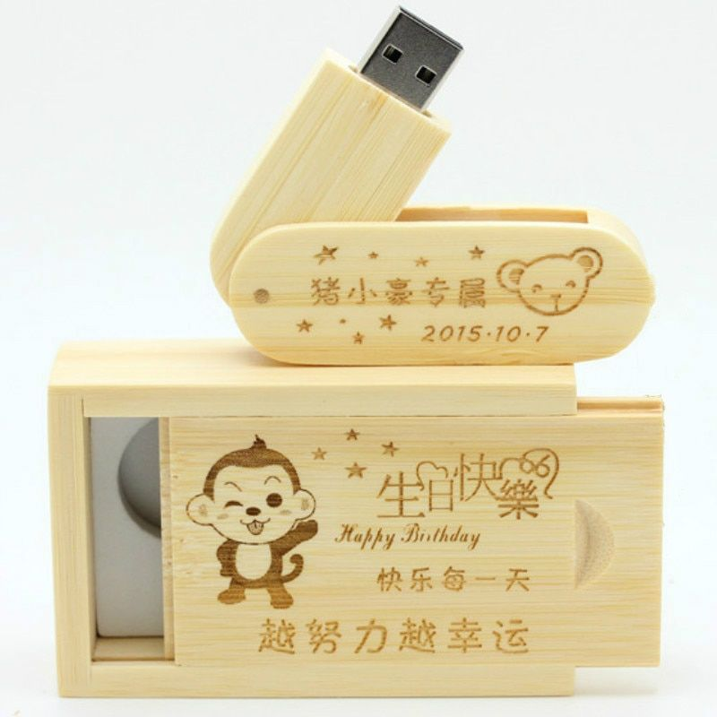 Customize LOGO Wooden USB With Box usb flash drive Memory Stick Laser Engraving wood pendrive 16GB 32GB Photography Wedding gift