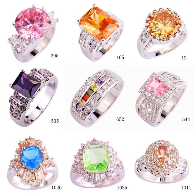 Fashion New Jwerely Wedding Gift Pink Champagne Purple Blue Green Dazzling Sliver Women Rings for Women Size 8 Wholesale