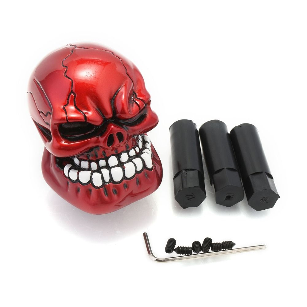 Universal Manual Auto Car Replacement Gear Knob Shifter Lever Resin Red Cool Skull Automobiles Gear Shift Knob Free Shipping