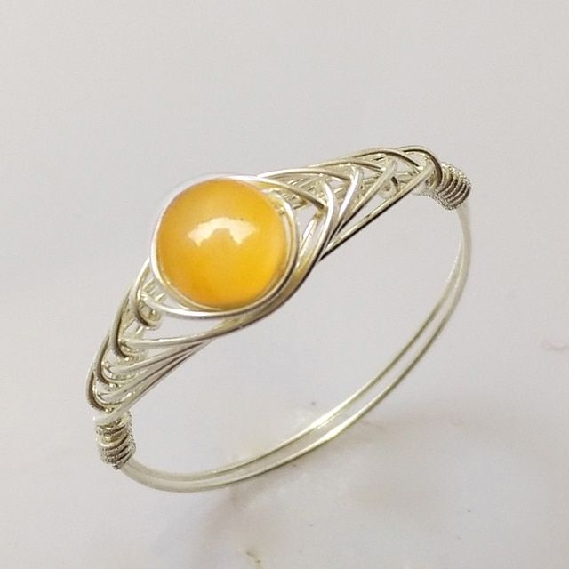 "Natural Golden Tridacna Sheel Beads Ring 925 Sterling Silver Natural Beads Ring Chinese Jewelry Gem Stone Ring "" GRB Ring """