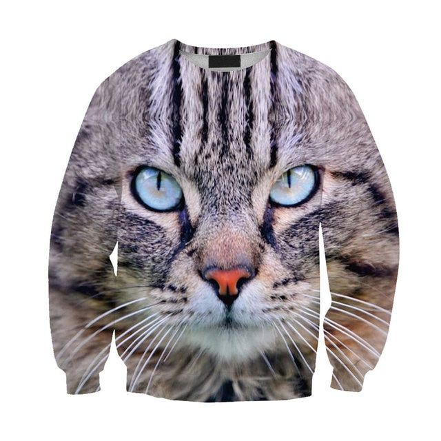 2016 New Fashion Tracksuit 3D Sweatshirts Blue Eyed Cat Printed Sweatshirt Men/Women Harajuku Hoodies Colegial Clothing
