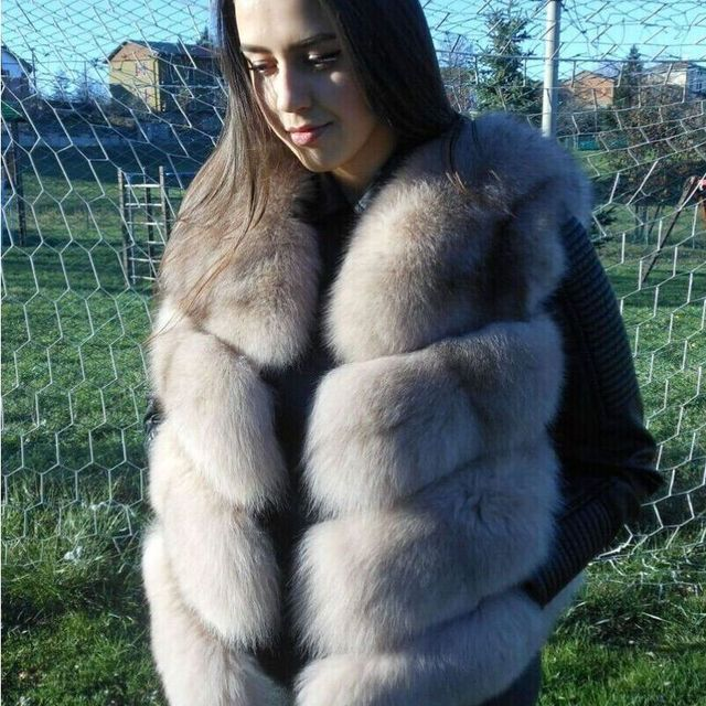2017 New Real Fur Vest Women Lady Natural Whole Fox Fur Vests Women's Waistcoat Winter Overcoat Girl Blue Fox Fur Gilet V115