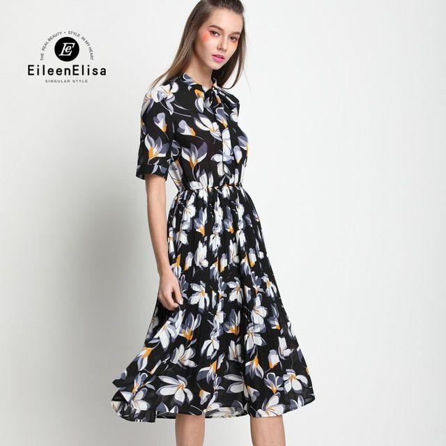 2017 Runway Women Dresses European and American Casual Fashion Summer Printed Dress