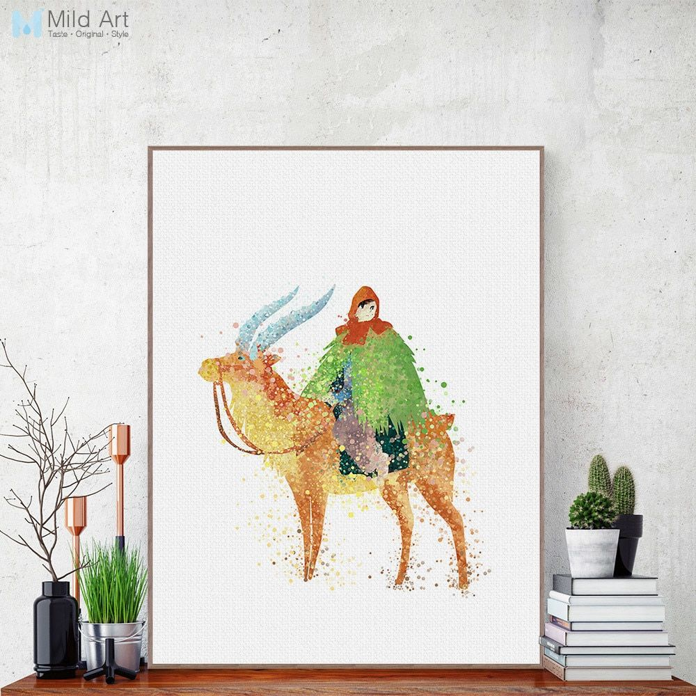 Watercolor Miyazaki Pop Anime Princess Mononoke Deer Canvas A4 Art Print Poster Wall Pictures Kids Room Decor Painting Custom
