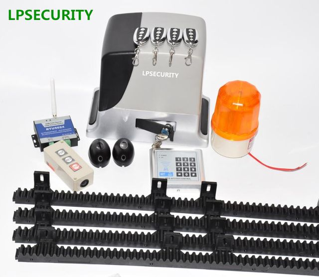 LPSECURITY 600kg automatic electric GSM sliding gate opener motor complete kit  4m 5m 6m racks with photocell lamp button keypad