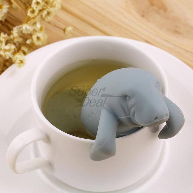 Manatee Shape Tea Infuser Pure Soft Silicone Rubber Loose Tea Leaf Strainer Herbal Spice Filter Diffuser Kitchen Gadget