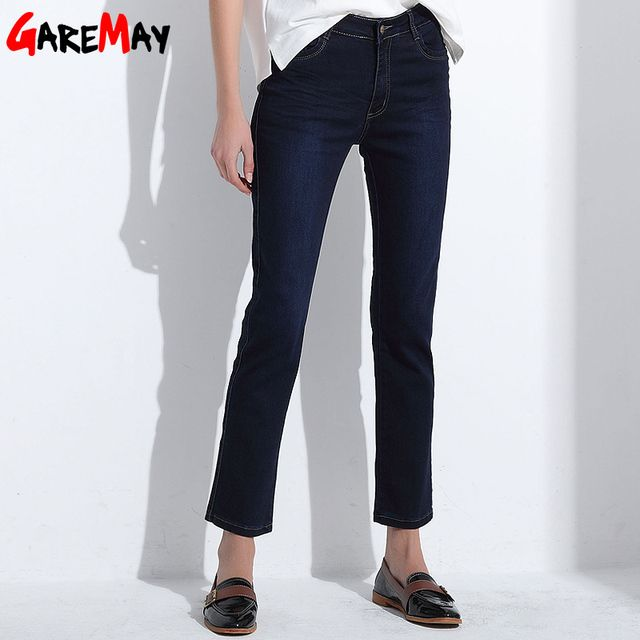 Women Jeans Femme Slim Straight High Waist Cotton Plus Size Denim Jeans Womens Pants For Women Alta Jeans Cintura  GAREMAY Y421