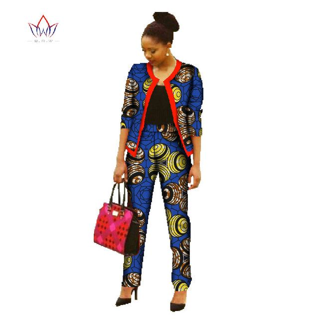 BRW Africa Wax Print Pants Set Spring Crop Top and Pants Set Dashiki Outfits 2 Pieces Plus Size African Clothing for Women WY022