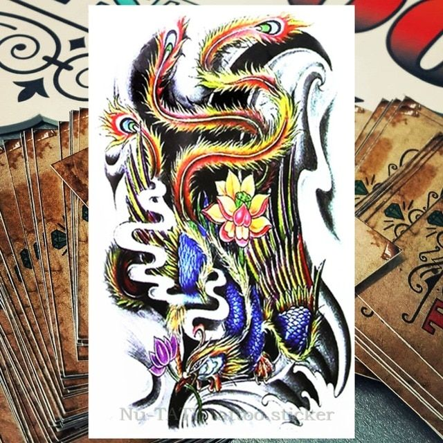 Nu-TATY phoenix Temporary Tattoo Body Art, 12*20cm Flash Tattoo Stickers, Waterproof Fake Henna Tatto Wall Sticker
