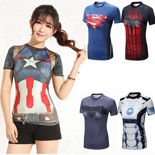 Women Marvel Super Heroes Shirts Avenger Compression Shirt   Fitness Tops Superman T shirt  women Tights Tee