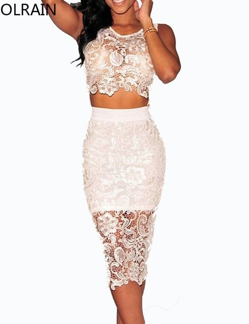 Olrain Women's Sexy Crochet See Through Sheer Lace 2 Piece Bodycon Midi Dress