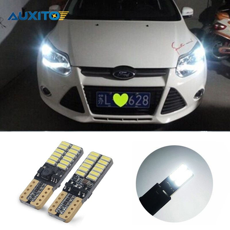2Pcs Car LED T10 W5W 24LED Canbus Parking Light For Ford Focus 2 1 Fiesta Mondeo 4 3 Transit Fusion Kuga Ranger Mustang KA S-max