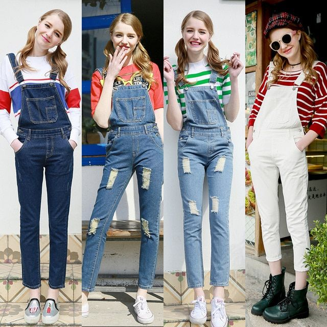 2016 New Fashion Women Overalls Denim Jumpsuit Lady Female Rompers Trousers Ripped Hole Jeans 10PCS/lot Wholesale