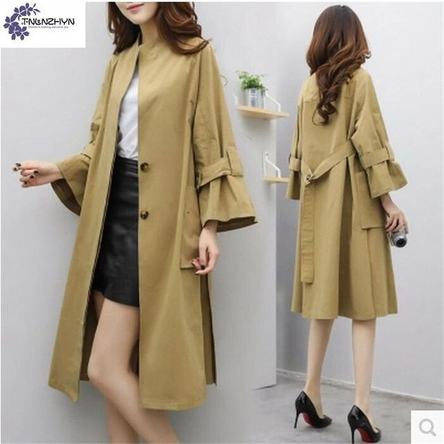 TNLNZHYN Windbreaker 2017 Spring New Korea Women Coat Medium Long Large size Loose Trench Coat Pure color Coat Tide Female TS02