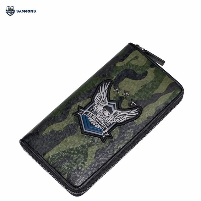 SAMMONS Brand Design Fashion Eagle Printing Camouflage Genuine Cow Leather Long Zipper Men Wallet Cards Phone Holder Clutches