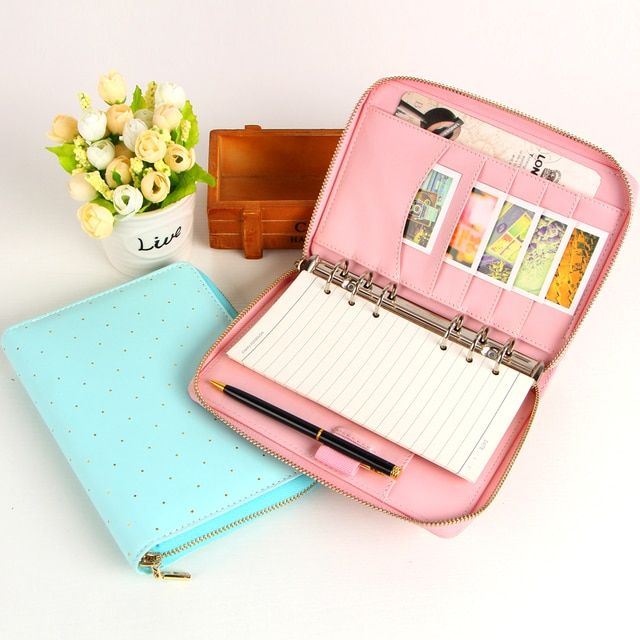 New Macaron zipper binder spiral notebook Multi-function candy wave point travel journal Cute personal A6 free shipping