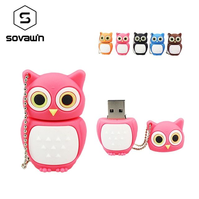 Sovawin Full Capacity Classical PVC Owl Usb Flash Drive Pen Drive 64 gb 32gb Pendrive 16gb  Mini Usb Memory Stick Disk Cool Gift