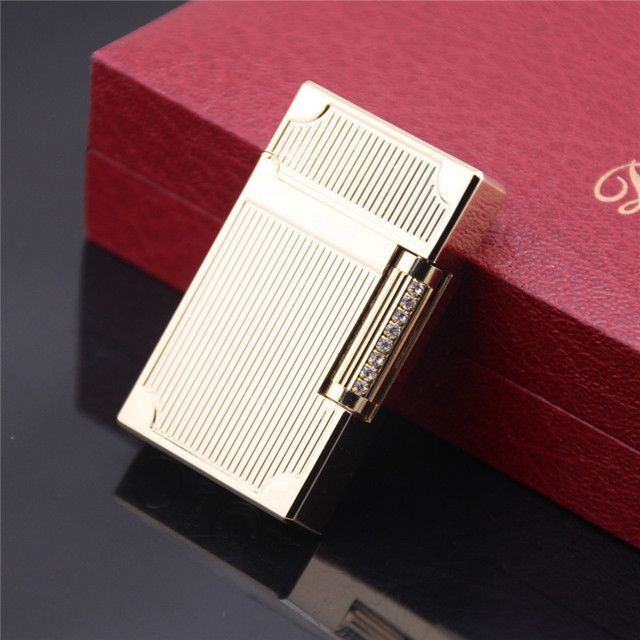 Luxury Gas Lighter Boutique Series Bright Sound Stripes Carved 14K Gold Plating Cigarette Lighter Gift -A2105