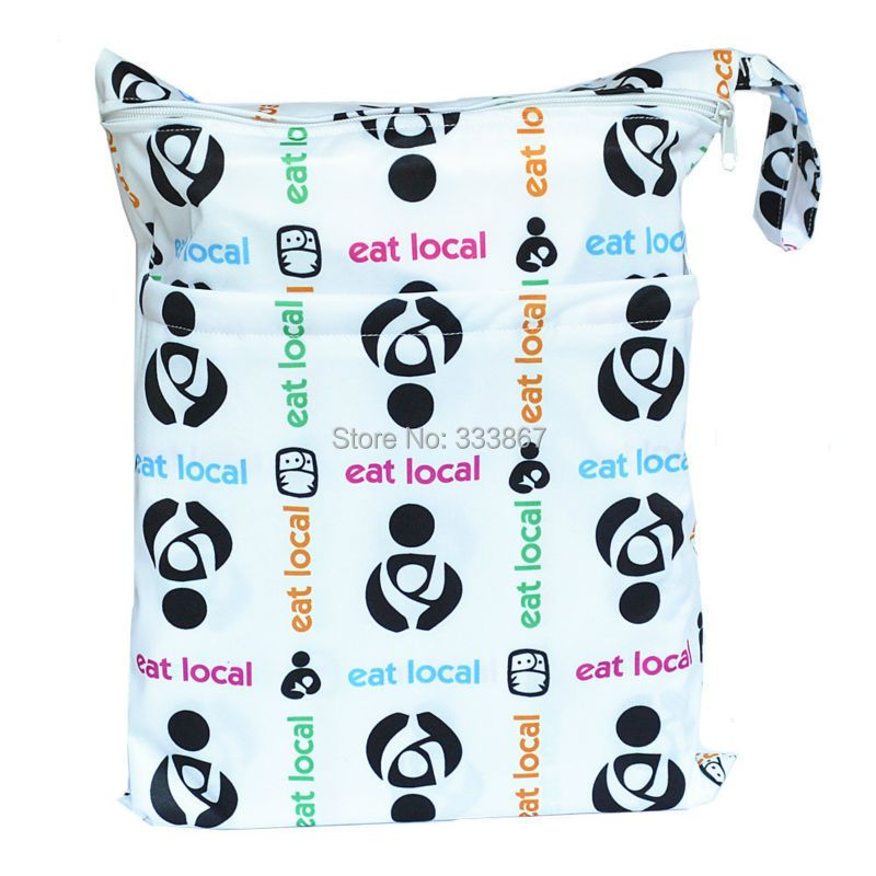 1 New Design Wet /Dry Bag, With Two Zippered Baby Diaper Bag, Nappy  Bag, Waterproof, Reusable, Eat Local