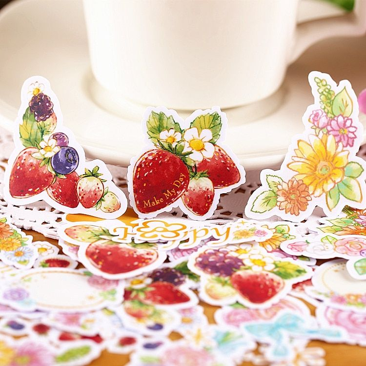 26pcs Sweet Strawberry Watercolor Scrapbooking Stickers DIY Craft DIY Sticker Pakc Photo Albums Deco Diary Deco