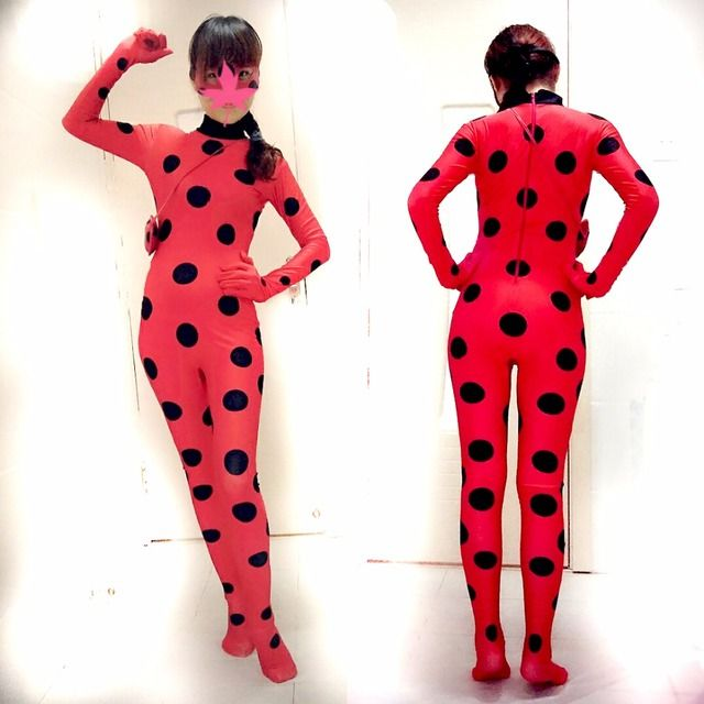 Girl Miraculous Ladybug Cosplay Costume With Mask Kids Adult Ladybug Romper Costume Cat Suit Halloween Women Ladybug Costume