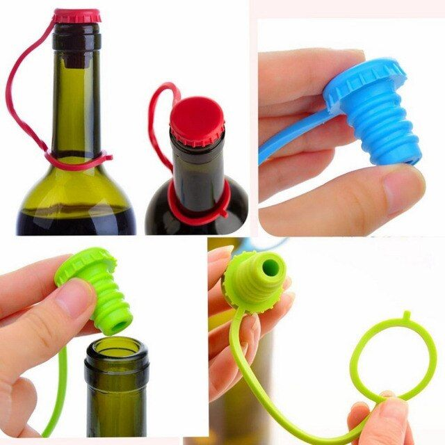 New Kitchen Anti-lost Silicone Hanging Button Seasoning Beer Wine Cork Stopper Plug Bottle Cap Cover Perfect Home Kitchen Tools