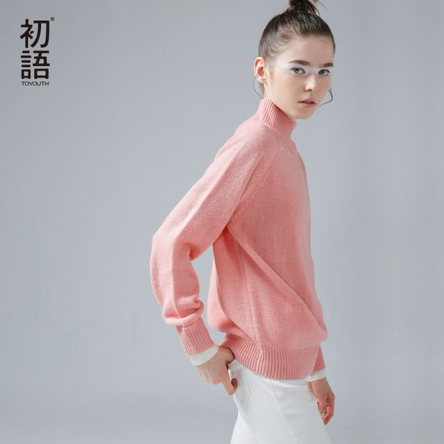Toyouth Women Autumn Winter Turletneck Pink Sweater and Pullovers Cashmere Knitted Sweater Woman Sweater Long Sleeve	Jumpers Top