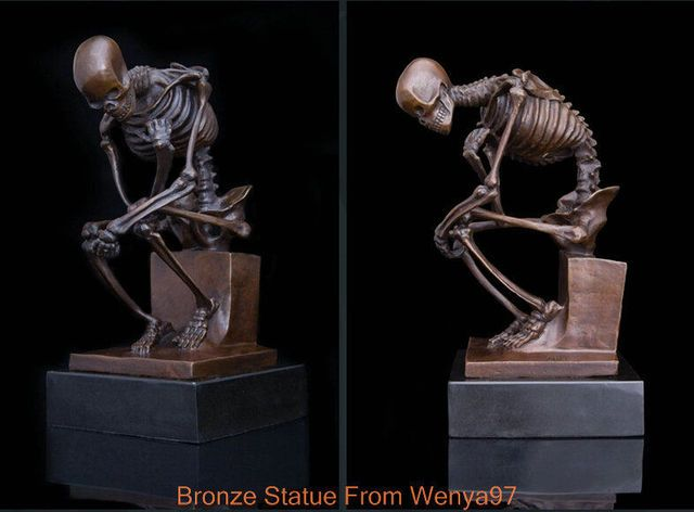 SS Art Deco Sculpture Skeleton Skull The Thinker Bronze Statue Signed ## QQ