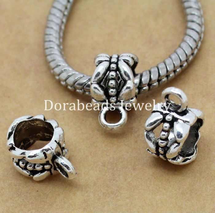 DoreenBeads 50PCs antique silver color Bail beads Spacer Beads 11x8mm Fit European Charm Bracelet 6mm