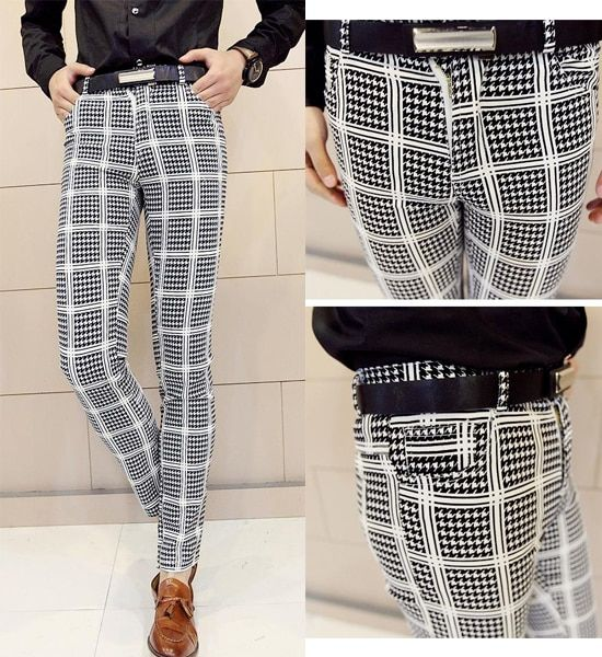 New Men's Fashion Smart Checked Houndstooth Unique Casual Work Slim Fit Skinny Pants Trousers