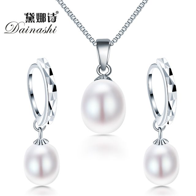 freshwater pearl necklacPromotion jewelry set ! Classic 925 sterling silver jewelry set genuinee/earrings for women wedding set