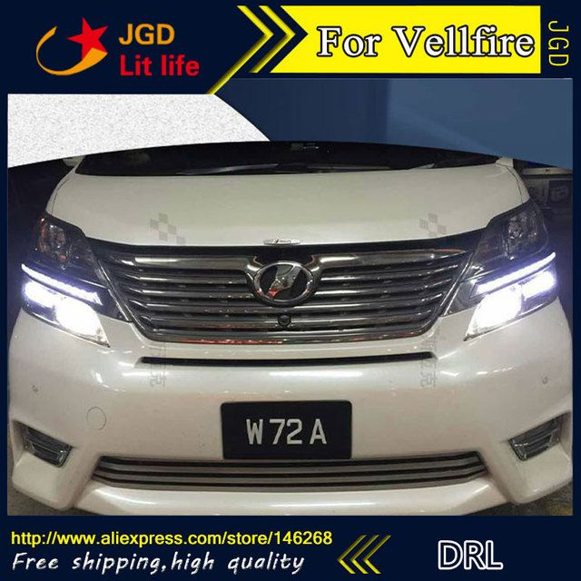 Free shipping ! 12V 6000k LED DRL Daytime running light for Toyota Vellfire 2013-2015 fog lamp frame Fog light