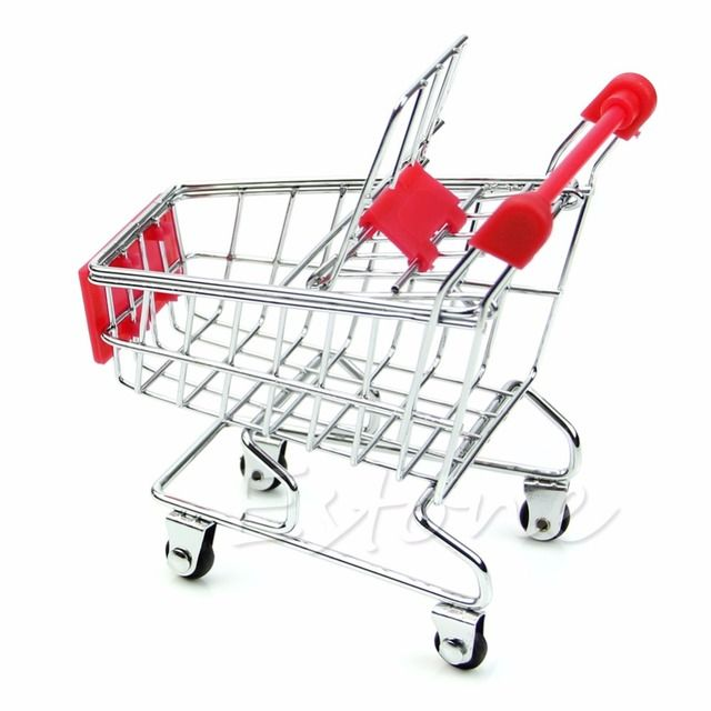 New 1Pc Mini Supermarket Handcart Shopping Cart Utility Mode Storage Desk Toy Holder Red