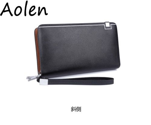Aolen men wallets purses 2016 zipper clutch bags coin card holder long and money mini leather pocket for men's wallet with purse